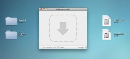 RedButton, crea un DMG por cada carpeta que arrastres sobre él (incluso con contraseña)