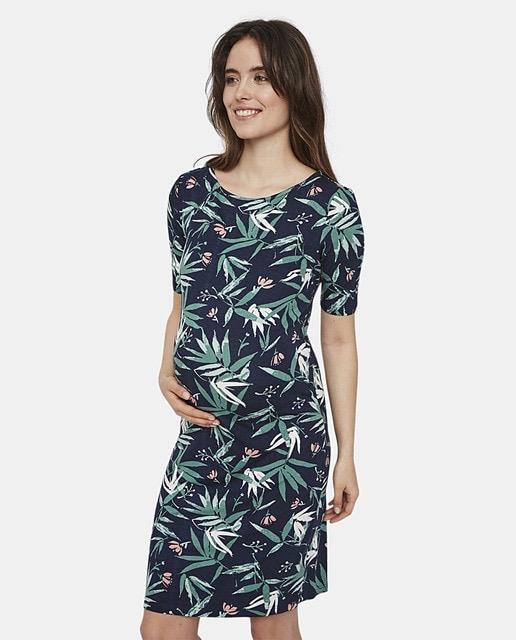 Vestido de premamá con manga corta y estampado tropical