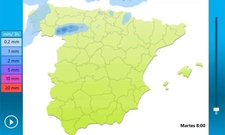 Mapa de la previsión de lluvia en España