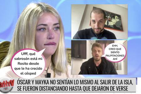 Así ha sido el tenso y cómplice reencuentro entre Mayka, Óscar y Pablo ('La Isla de las Tentaciones') en 'MyHyV'