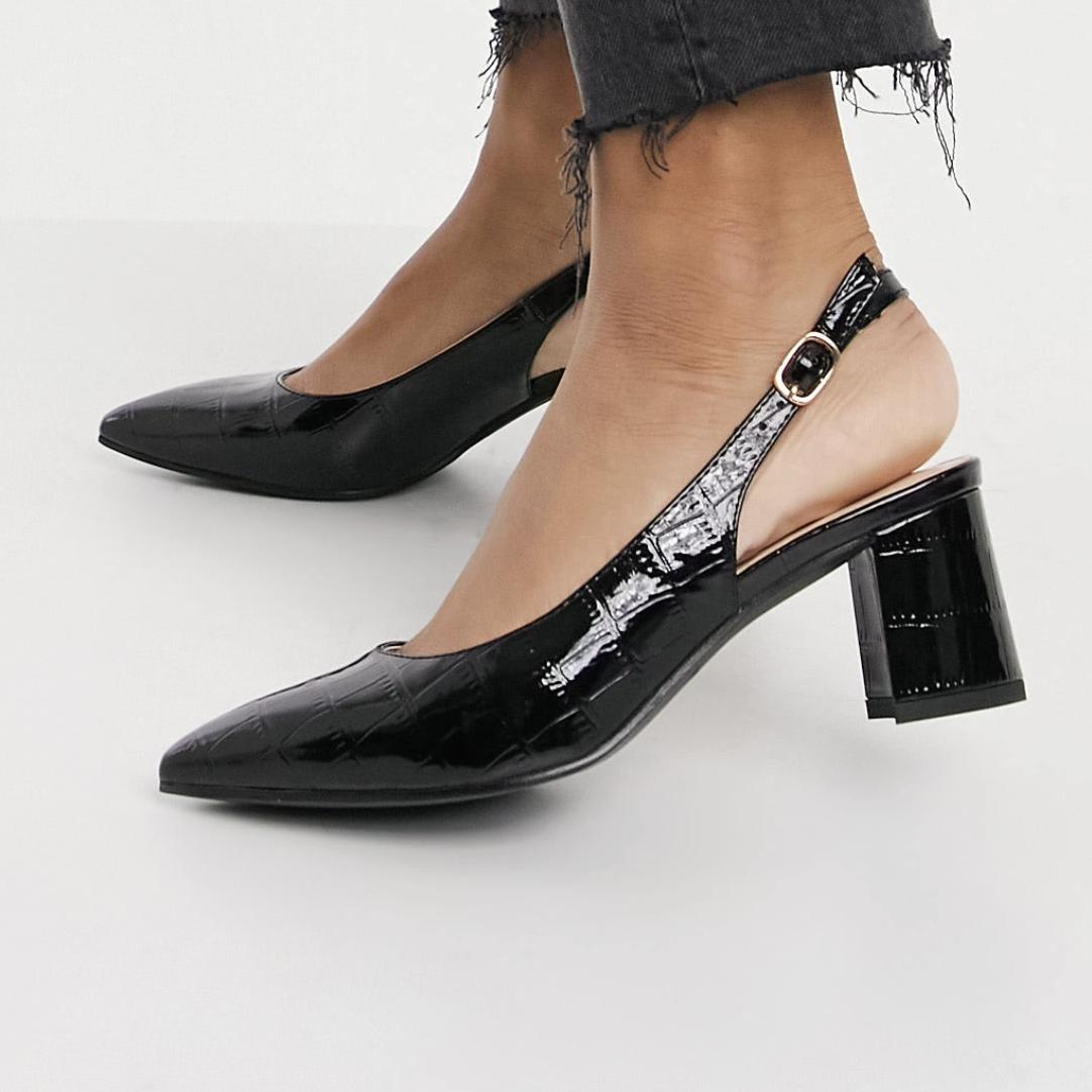 Zapatos de tacón negros efecto cocodrilo Rubina de Raid