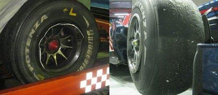 Así quedaron los ruedas de Lewis Hamilton y Mark Webber