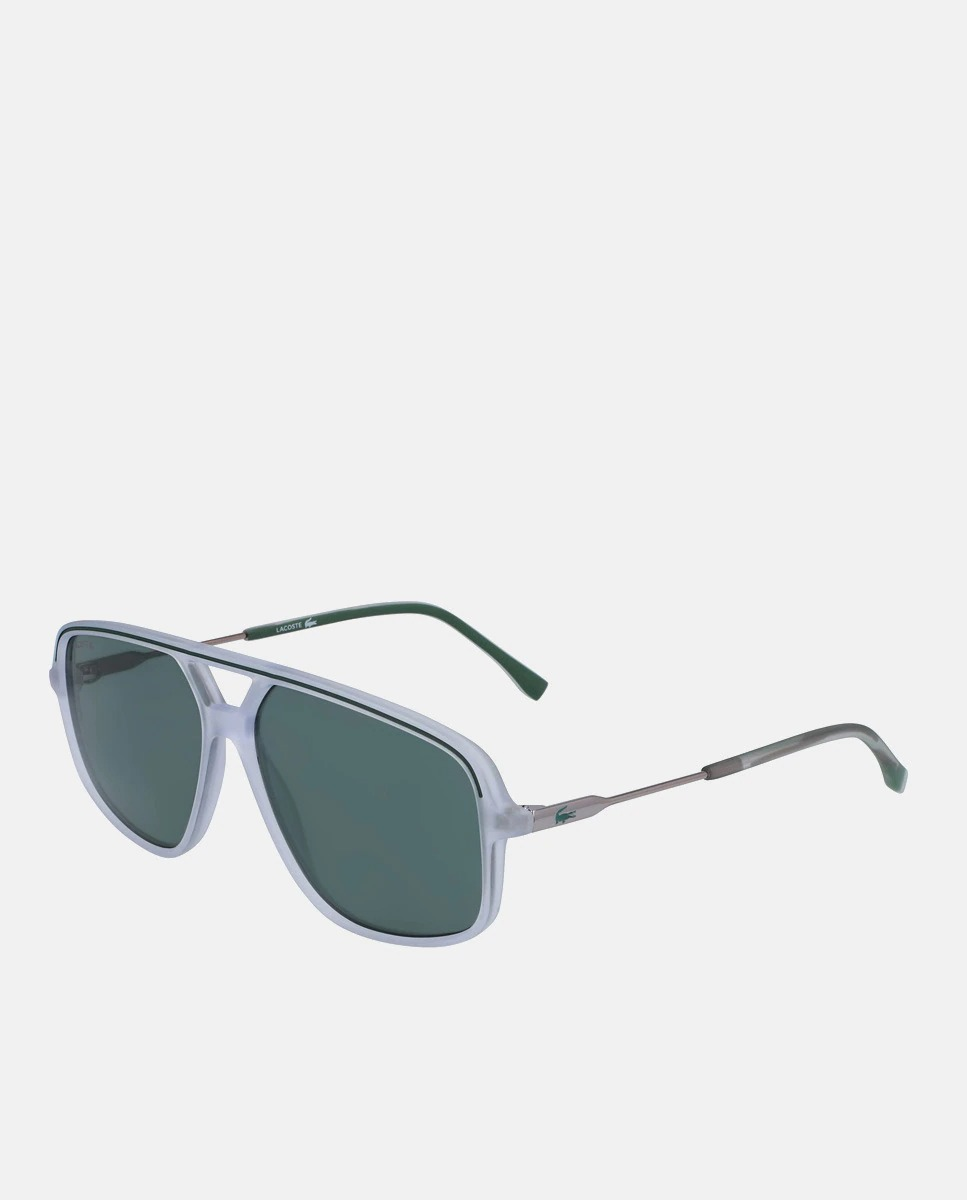 Gafas de sol de hombre Lacoste rectangulares transparentes con doble puente