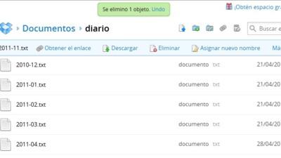 Ahora es posible deshacer los errores que cometamos en Dropbox