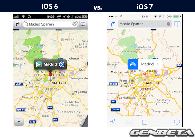 iOs 6 vs iOs 7 - mapas