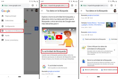 Google Chrome App Borrar Historial Busqueda
