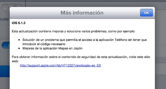 ios 6.1.3 actualización apple