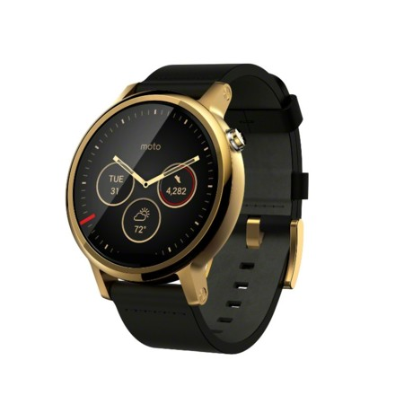Moto 360 2nd Gen 46mm Black Gold Angle