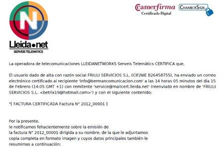 Lleida.net facilita ahora el envío certificado de facturas por email o SMS