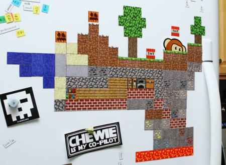 Minecraft también para construir tu mundo sobre el frigorífico