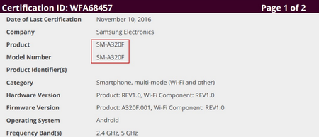 Samsung Galaxy A3 2017 certificado WiFi