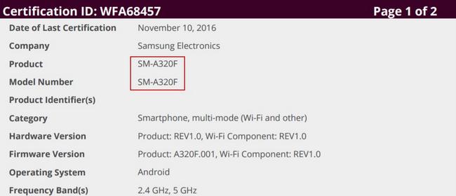 Samsung Galaxy™ A3 2017 certificado WiFi
