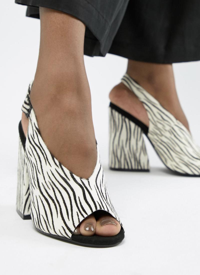 Sandalias de tacón en cuero de primera calidad con estampado de cebra Heights de ASOS DESIGN