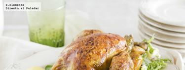 Pollo asado a las dos cocciones. Receta