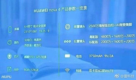 Huawei Nova 4 Specifications Leaked