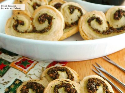 Orejitas con pesto de albahaca. Receta de aperitivo de Navidad