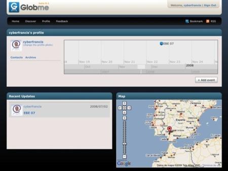 Globme, registro de eventos en una línea de tiempos