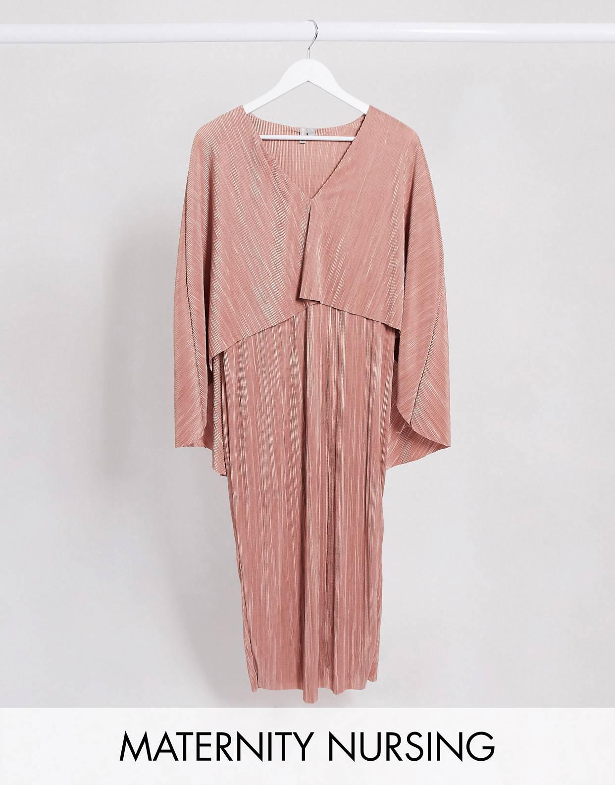 Vestido midi cruzado y plisado de lactancia con manga de murciélago y lazada incorporada en rosa de ASOS DESIGN Maternity