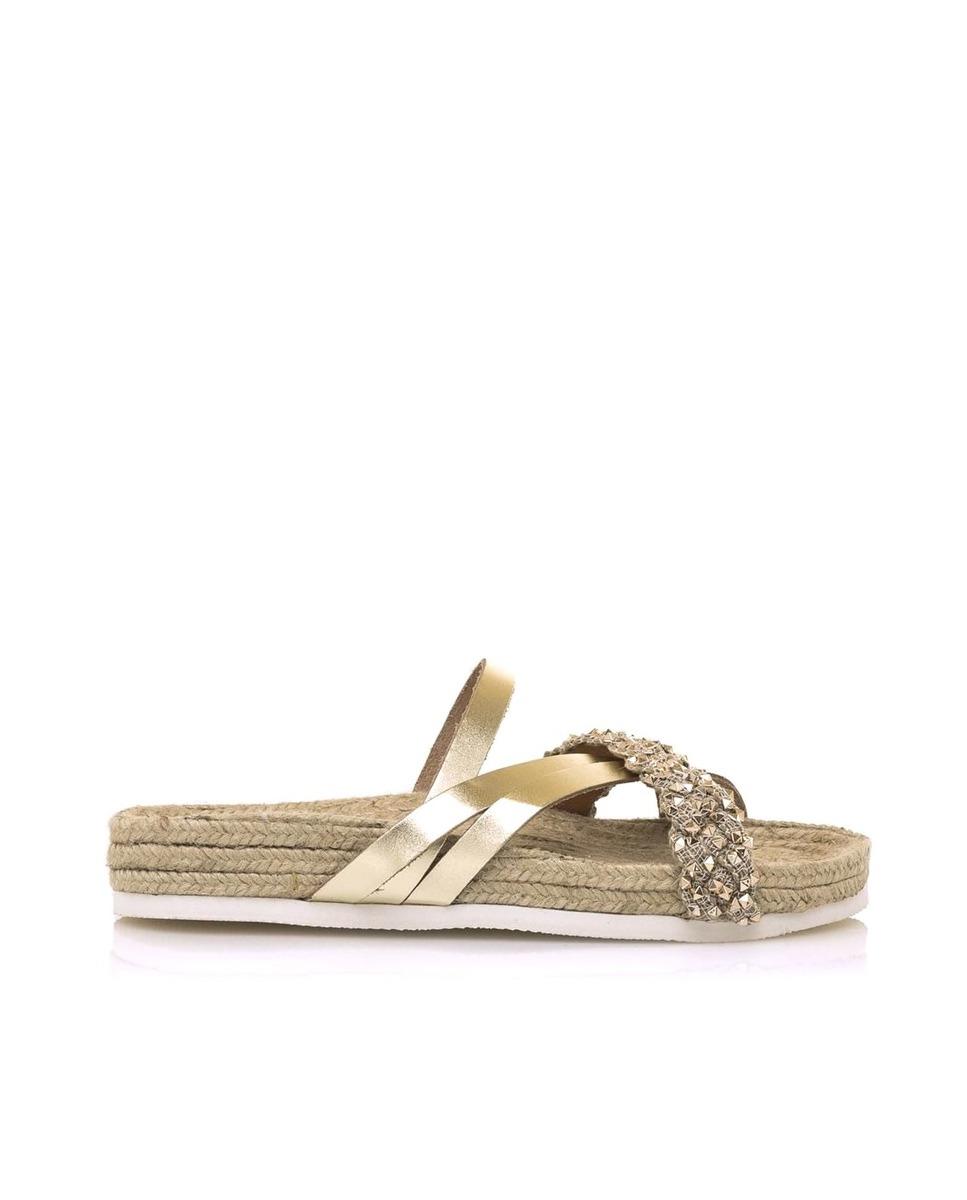 Sandalias planas de mujer Sixtyseven en rafia con tiras de piel curzadas con detalles en color oro