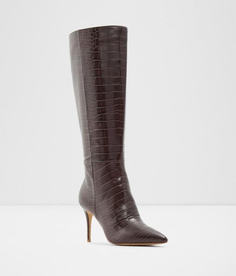 Botas de mujer Aldo altas en color marrón con piel de serpiente