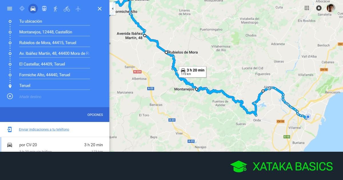 Como hacer una ruta en Google Maps con varias paradas y compartirla después