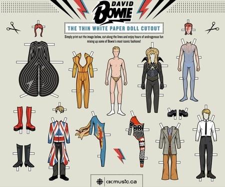 Jugar a los recortables con diseños inspirados en el artista David Bowie