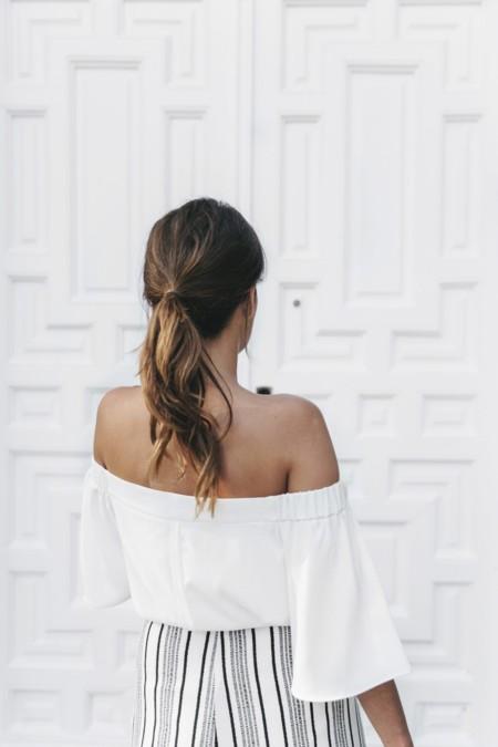 River Island El Imparcial Striped Skirt Off Shoulders Top Lace Up Sandals Chanel Vintage Bag 8 1400x2100