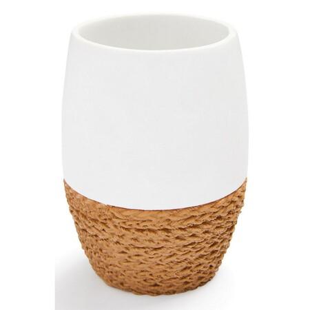 Vaso blanco alto con base de cuerda
