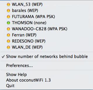 CoconutWiFi, redes WiFi disponibles de un vistazo