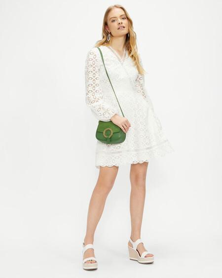 Broderie Long Sleeve Mini Dress