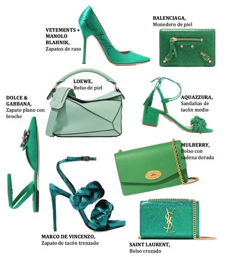 Zapatos Bolsos Lujo Verde