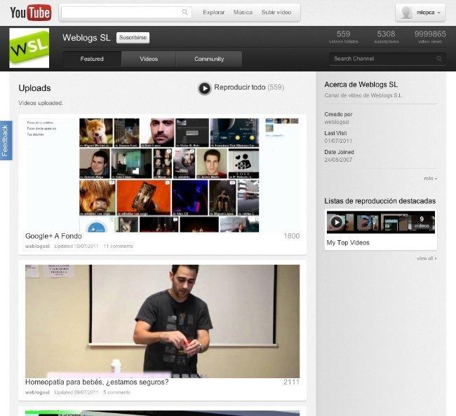 youtube google cosmic panda interfaz diseño