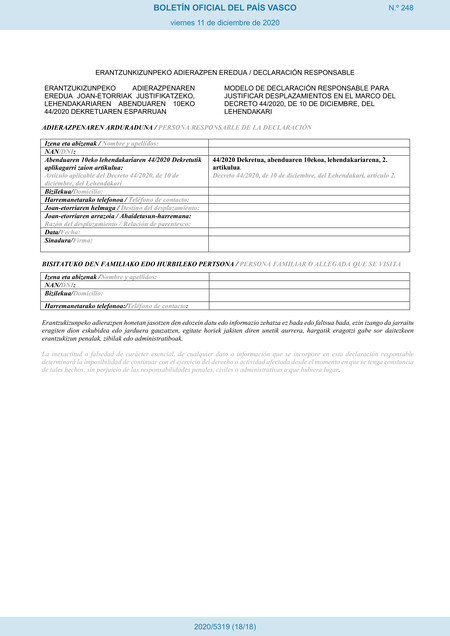 Euskadi Declaracion Responsable