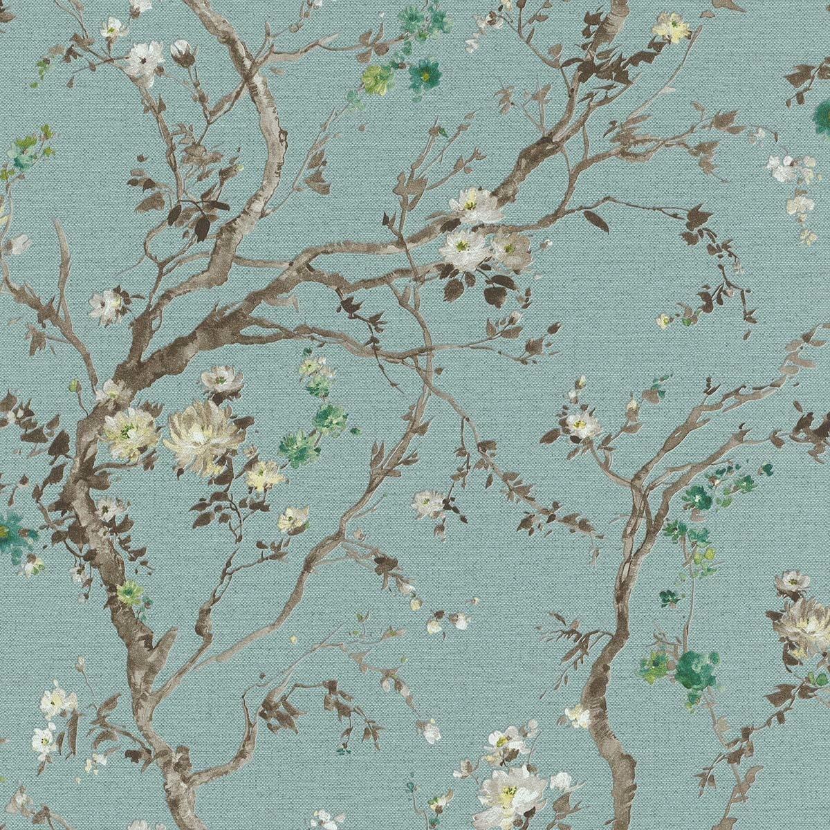 Papel pintado árbol con flores Serie Oriente Rasch