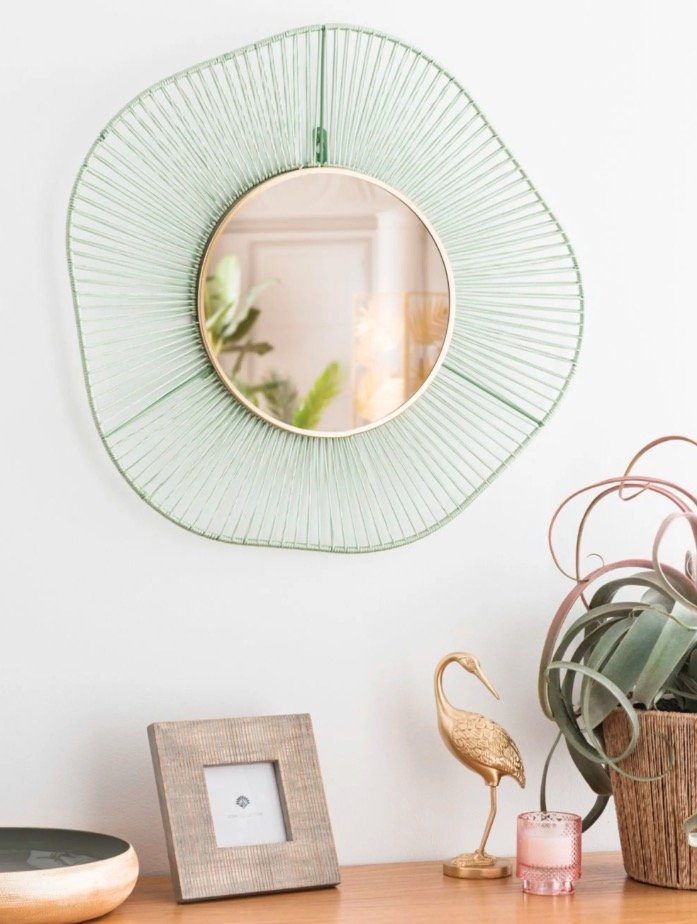 Espejo redondo trenzado verde Yenso D.60