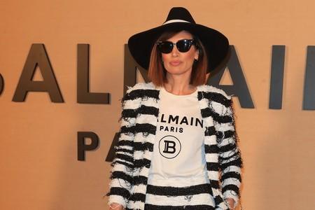 Nieves Álvarez y su sofisticado look de rayas da la campanada en el front row de Balmain frente al resto de invitadas