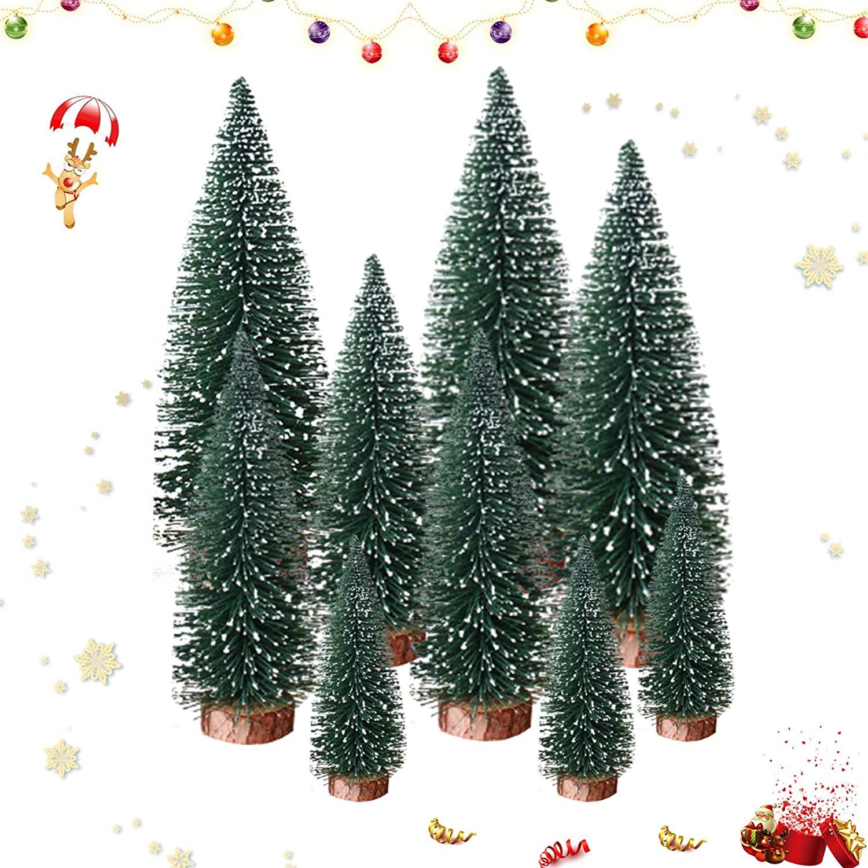 Sunshine smile 9 pcs Mini árbol de Navidad,pequeño árbol de Navidad,Árbol de Navidad Artificial,Mini Árbol Navidad,Navidad Micro Paisaje,Manualidades Navideñas (Verde)