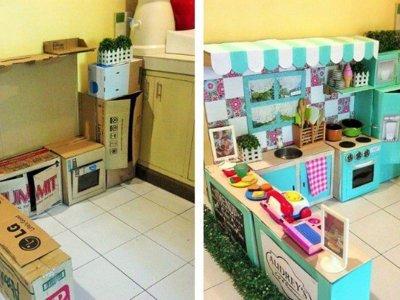 La impresionante cocina infantil que una madre hizo con cajas de cartón