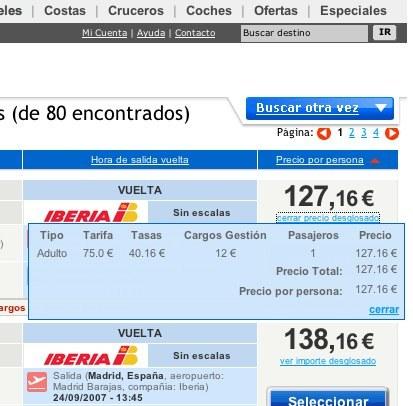 Precios finales y desglosados en el buscador de Viajar.com