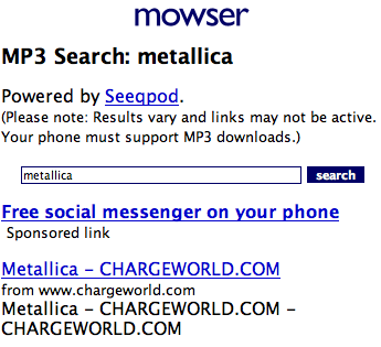 Mowser, con buscador de MP3