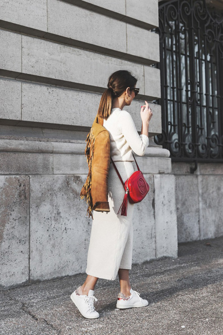Fringed Jacket Polo Ralph Lauren Flame Sneakers Isabel Marant Gucci Disco Bag White Dress Outfit Street Style 6 790x1185