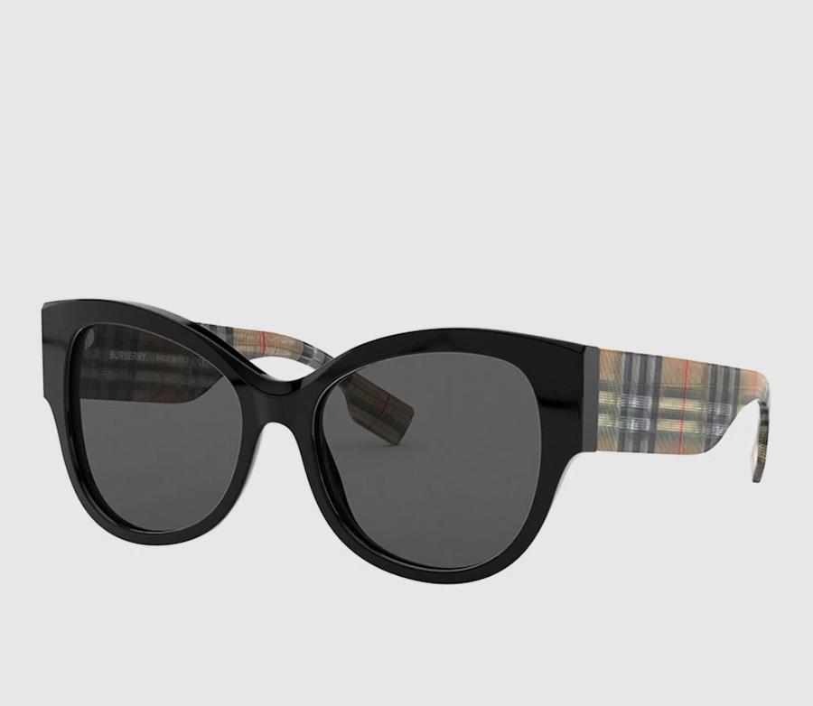 Gafas de sol de mujer Burberry cat eye de acetato negro con varillas a contraste