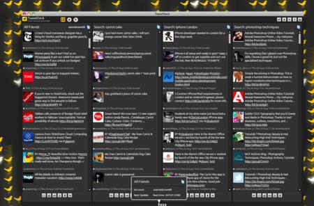 TweetDeck, un cliente de Twitter que usa la API en tiempo real de Twitter.