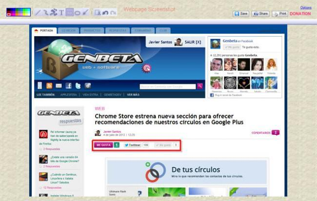 Extensión Webpage Screenshot para Chrome.