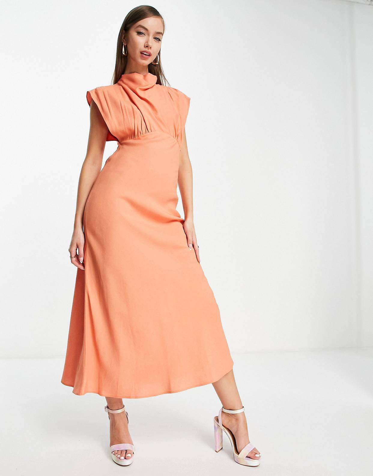 Vestido midi color coral con cuello alto de lino de ASOS DESIGN
