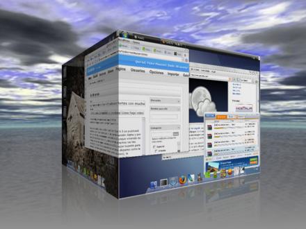 Windows XP tuneado como Vista corriendo bajo Ubuntu tuneado como Leopard