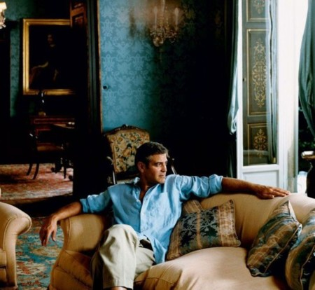 Celebrity Homes George Clooney Italian Villa Home Lake Como Living Room