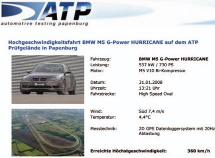 BMW M5 Hurricane, el BMW de calle más rápido: 360 km/h