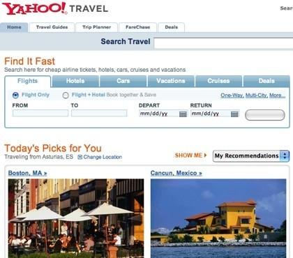 Yahoo! Travel añade recomendaciones personalizadas