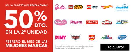 En Toys 'r us tenemos un 50% de descuento en la 2ª unidad en una selección de marcas como Barbie, Lego o Playmobil y envío gratis